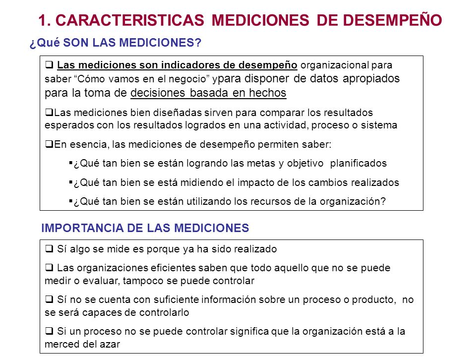 1. CARACTERISTICAS MEDICIONES DE DESEMPEÑO Las mediciones son indicadores de desempeño organizacional para saber Cómo vamos en el negocio y para dispo