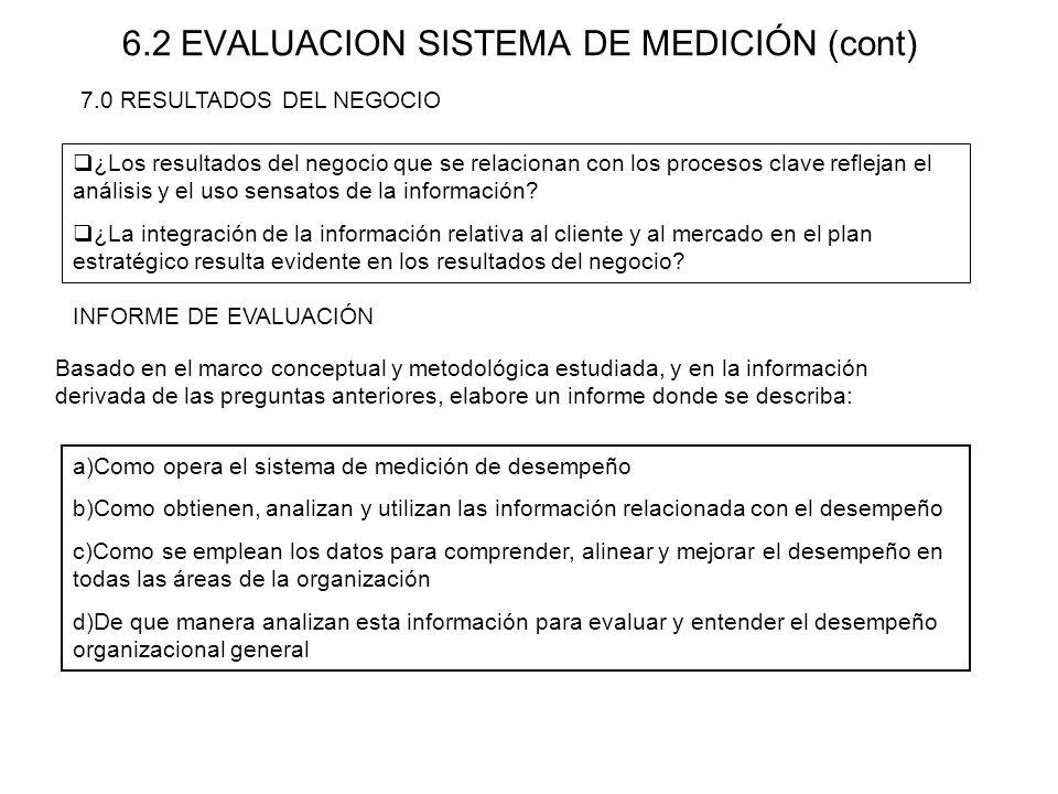 6.2 EVALUACION SISTEMA DE MEDICIÓN (cont) ¿Los resultados del negocio que se relacionan con los procesos clave reflejan el análisis y el uso sensatos