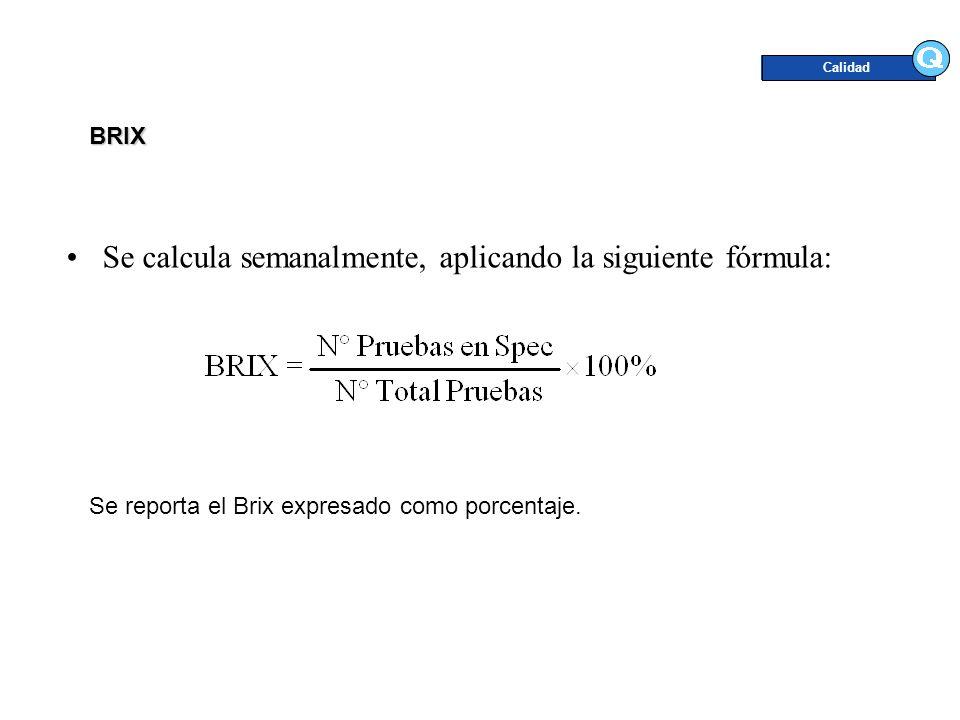 Se calcula semanalmente, aplicando la siguiente fórmula: Calidad Se reporta el Brix expresado como porcentaje. BRIX