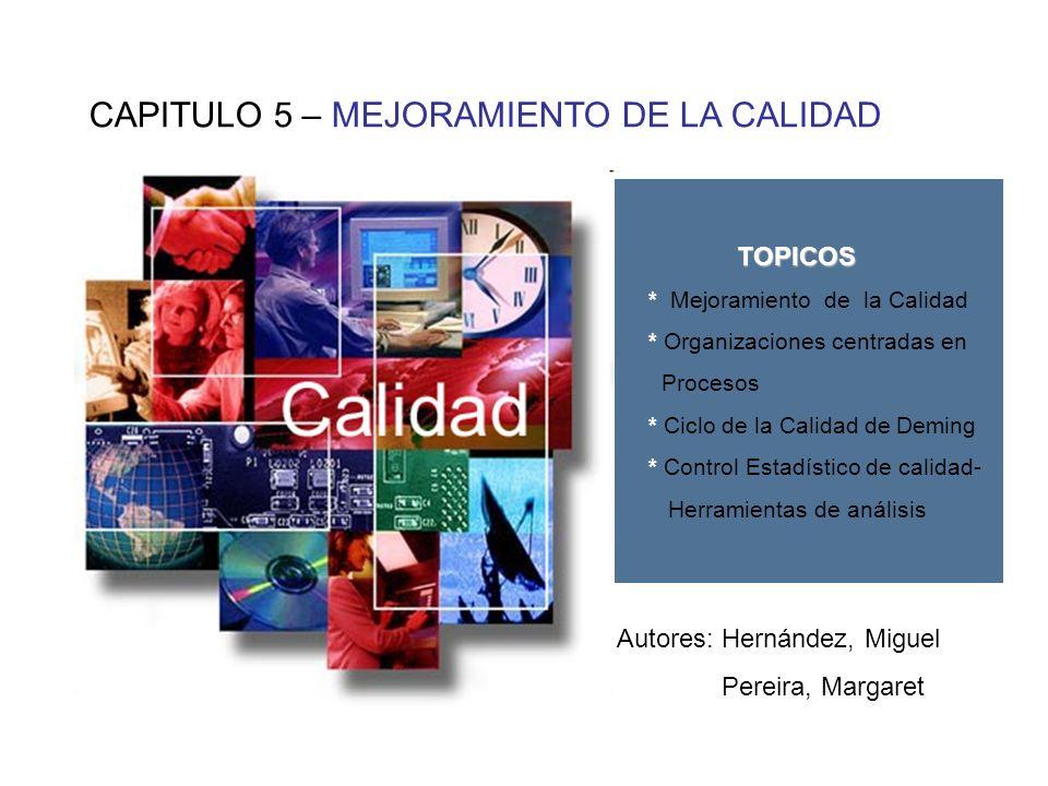 CAPITULO 5 – MEJORAMIENTO DE LA CALIDAD TOPICOS * Mejoramiento de la Calidad * Organizaciones centradas en Procesos * Ciclo de la Calidad de Deming *