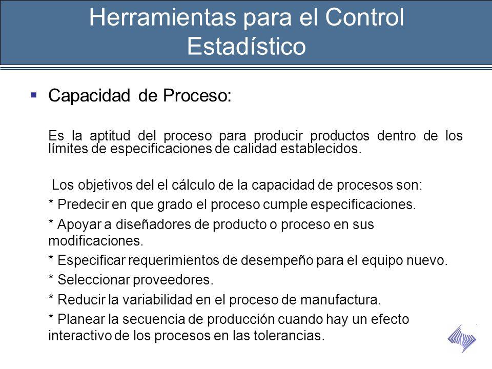Capacidad de Proceso: Es la aptitud del proceso para producir productos dentro de los límites de especificaciones de calidad establecidos. Los objetiv