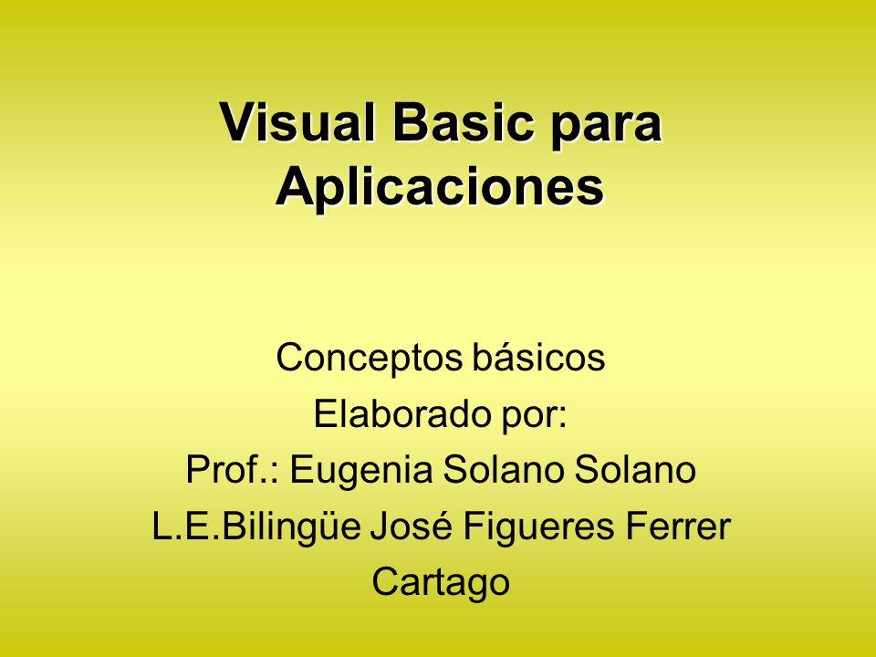 Visual Basic para Aplicaciones Conceptos básicos Elaborado por: Prof.: Eugenia Solano Solano L.E.Bilingüe José Figueres Ferrer Cartago