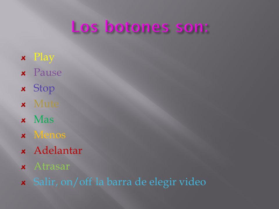 Play Pause Stop Mute Mas Menos Adelantar Atrasar Salir, on/off la barra de elegir video