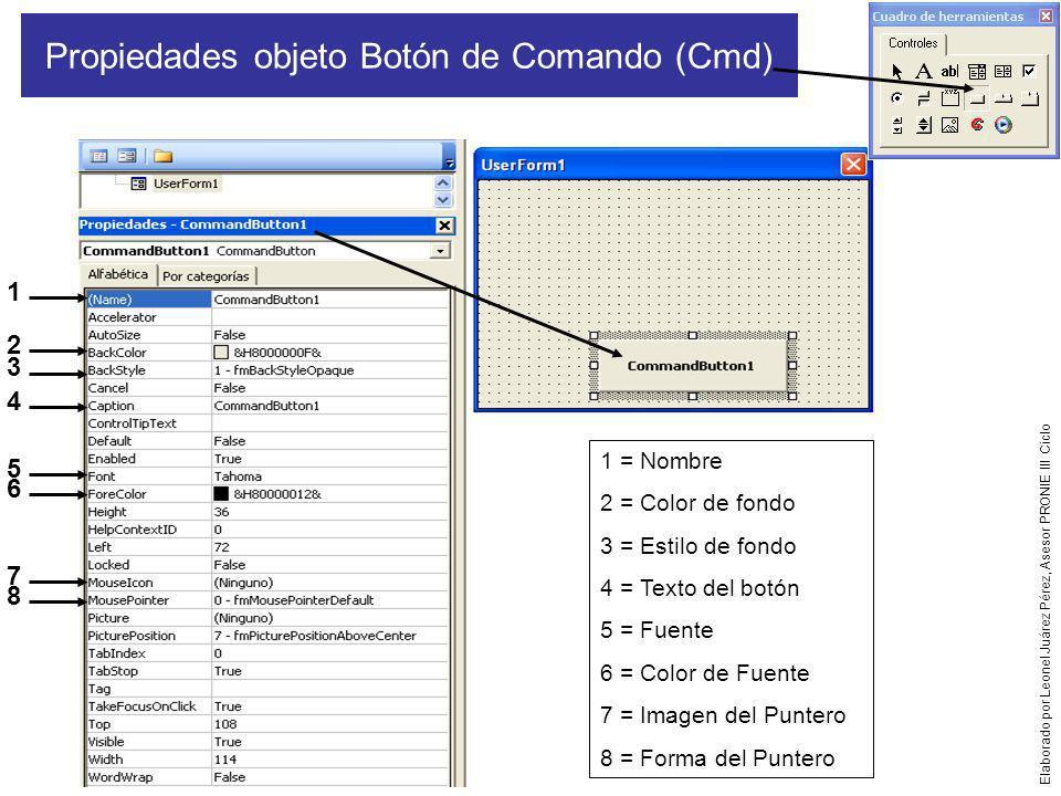 Por:LJP Propiedades de objeto Imagen (Img) 1 1 = Nombre 2 = Formato de fondo 3 = Estilo de borde 4 = Texto del Puntero sobre la imagen 5 = Forma del puntero 6 = Imagen a insertar y mostrar 7 = Ajustar tamaño de la imagen 2 3 4 5 6 7 Elaborado por Leonel Juárez Pérez, Asesor PRONIE III Ciclo
