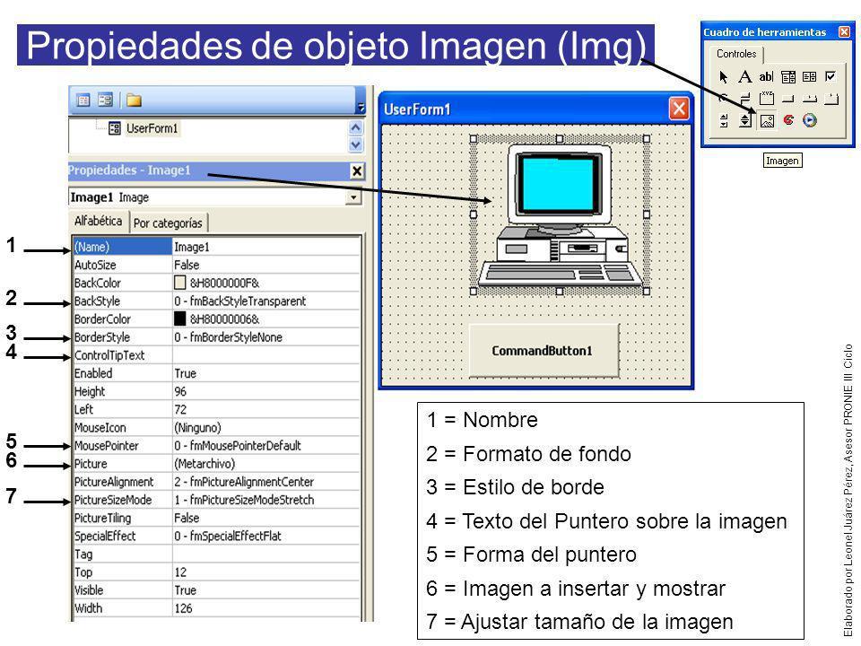 Por:LJP Propiedades objeto Cuadro de texto (Txt) 1 1 = Nombre 2 = Color de fondo 3 = Formato de fondo 4 = Tipo de borde 5 = Fuente 6 = Color de Fuente 7 = Bloquear contra cambios 8 = Permitir Múltiples líneas 9 = Barra de Desplazamiento 10 = Texto a incluir en la caja 11 = Alineamiento del texto 2 3 4 5 6 7 8 9 10 11 Elaborado por Leonel Juárez Pérez, Asesor PRONIE III Ciclo