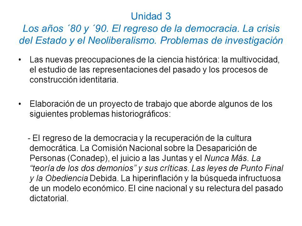Unidad 3 Los años ´80 y ´90. El regreso de la democracia. La crisis del Estado y el Neoliberalismo. Problemas de investigación Las nuevas preocupacion