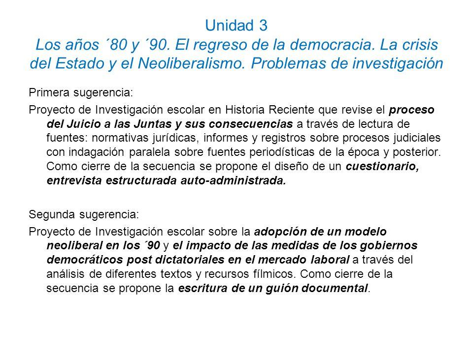 Unidad 3 Los años ´80 y ´90. El regreso de la democracia. La crisis del Estado y el Neoliberalismo. Problemas de investigación Primera sugerencia: Pro