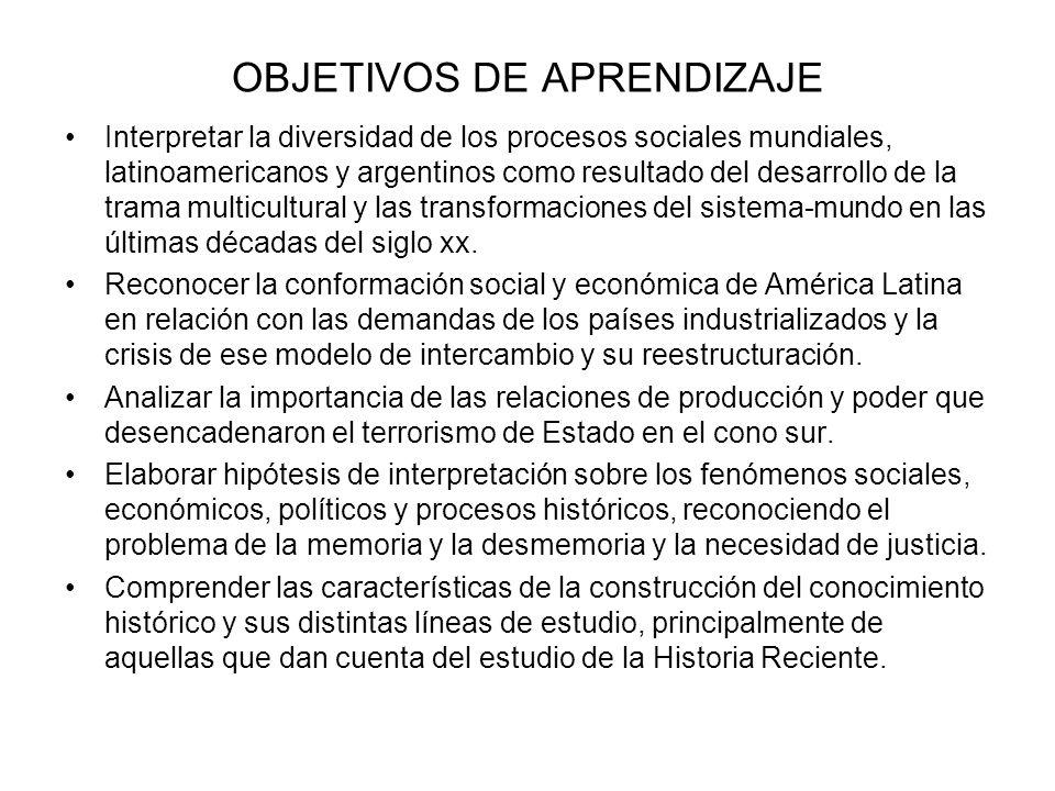 OBJETIVOS DE APRENDIZAJE Interpretar la diversidad de los procesos sociales mundiales, latinoamericanos y argentinos como resultado del desarrollo de
