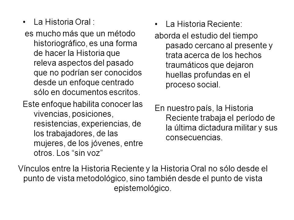 La Historia Oral : es mucho más que un método historiográfico, es una forma de hacer la Historia que releva aspectos del pasado que no podrían ser con