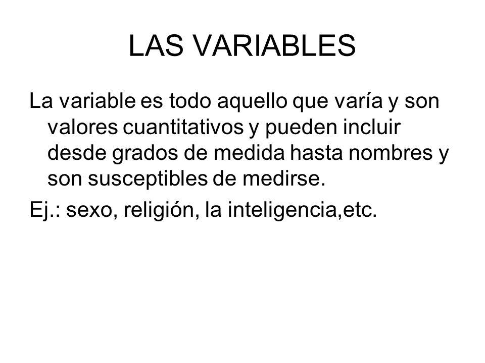 LAS VARIABLES La variable es todo aquello que varía y son valores cuantitativos y pueden incluir desde grados de medida hasta nombres y son susceptibl