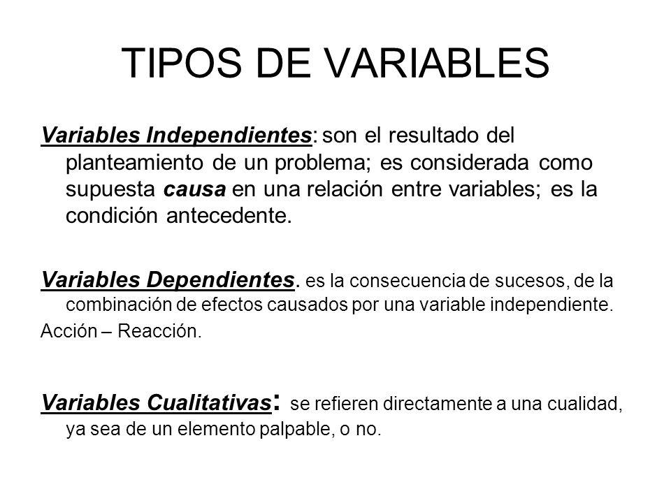 TIPOS DE VARIABLES Variables Independientes: son el resultado del planteamiento de un problema; es considerada como supuesta causa en una relación ent