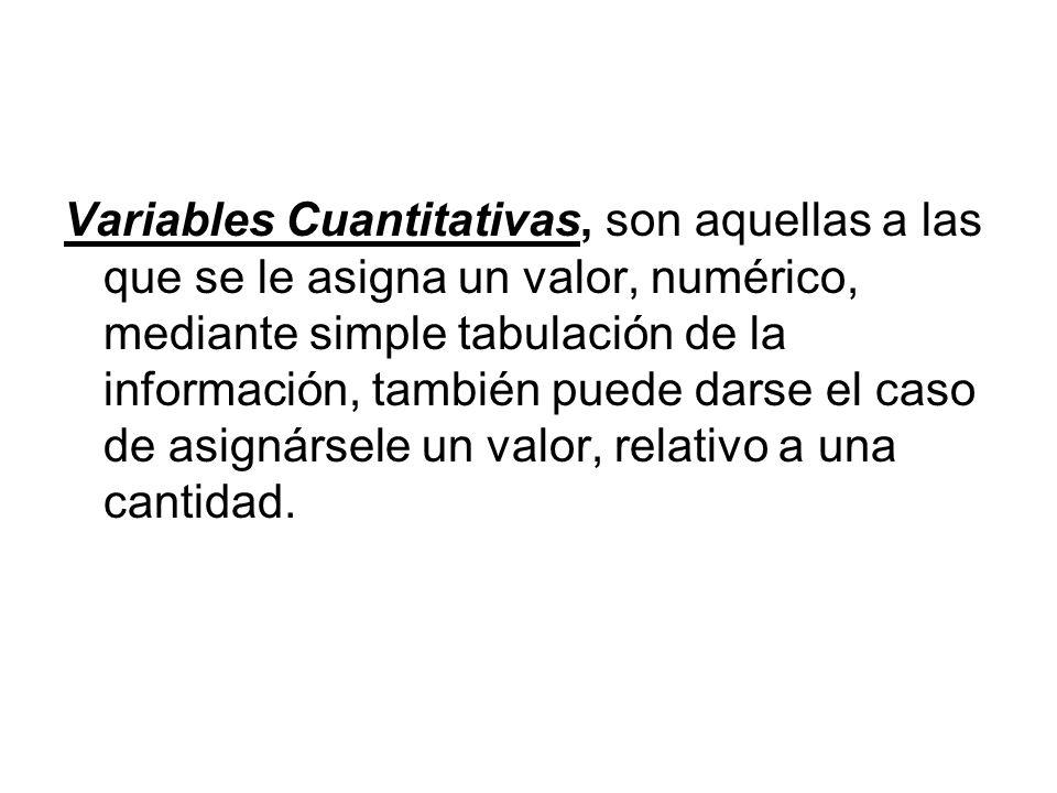 Variables Cuantitativas, son aquellas a las que se le asigna un valor, numérico, mediante simple tabulación de la información, también puede darse el