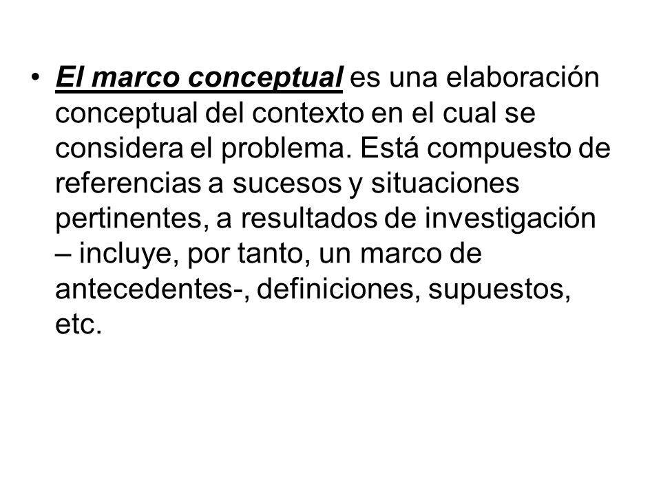 El marco conceptual es una elaboración conceptual del contexto en el cual se considera el problema. Está compuesto de referencias a sucesos y situacio