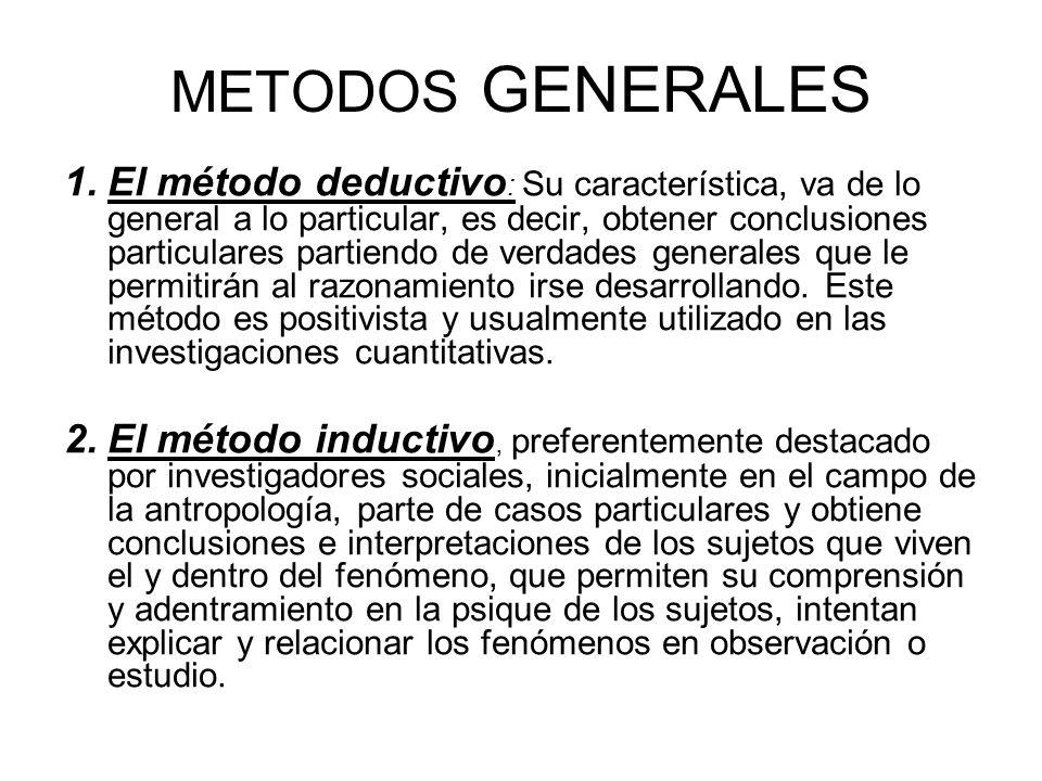 METODOS GENERALES 1.El método deductivo : Su característica, va de lo general a lo particular, es decir, obtener conclusiones particulares partiendo d