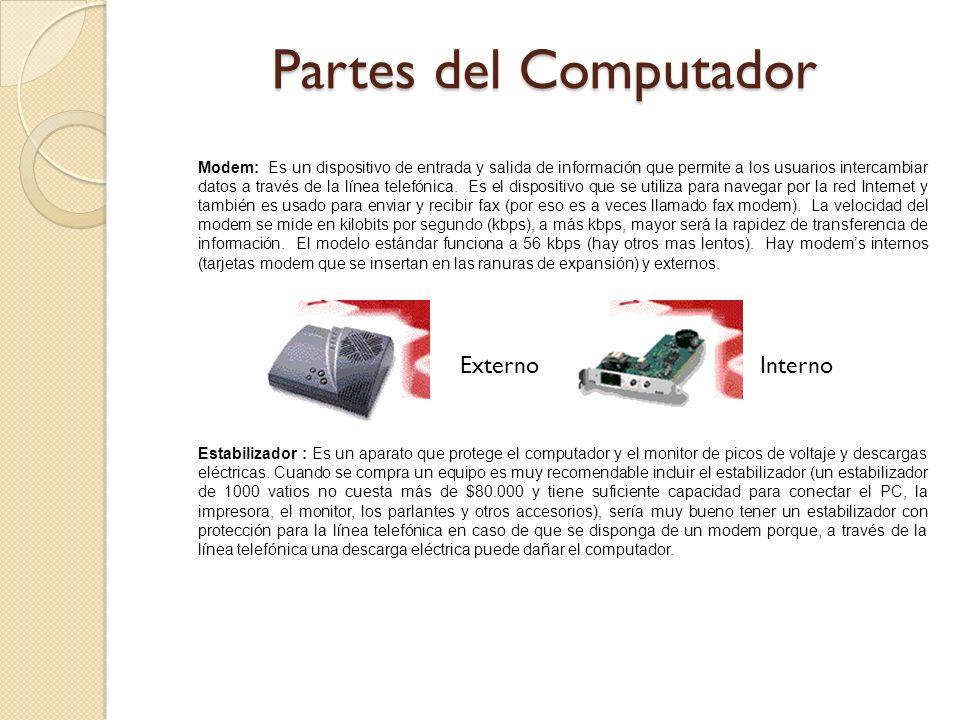 Modem: Es un dispositivo de entrada y salida de información que permite a los usuarios intercambiar datos a través de la línea telefónica. Es el dispo