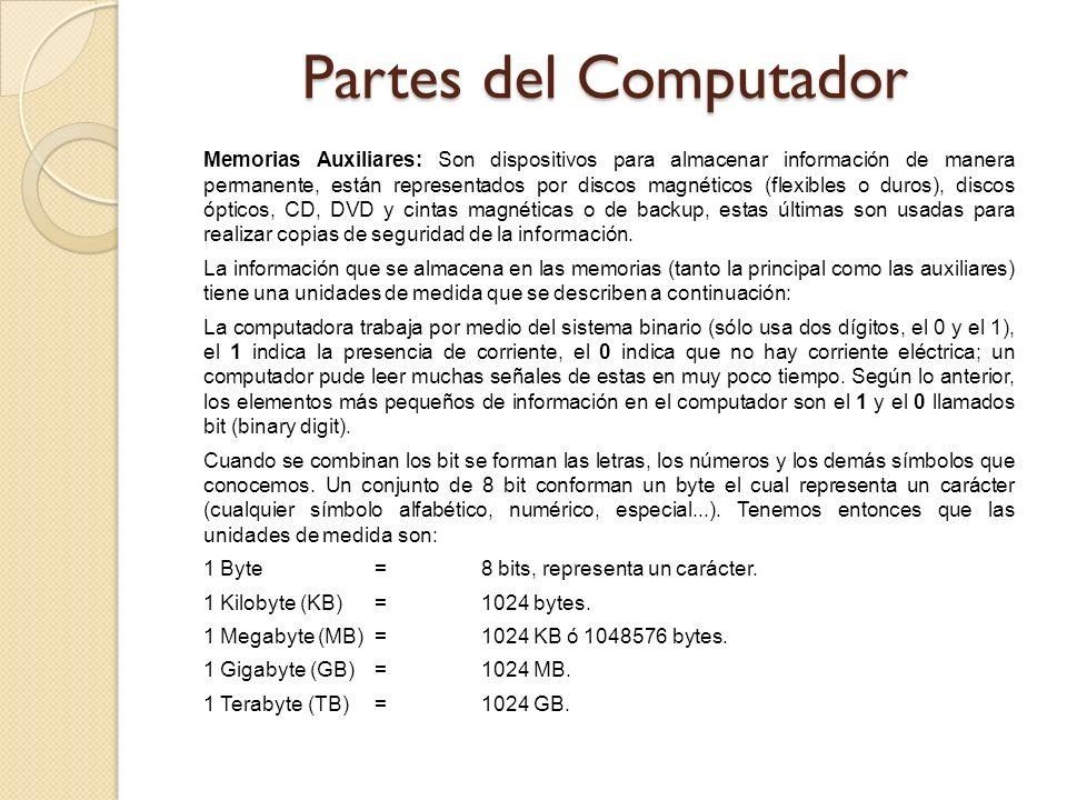 Memorias Auxiliares: Son dispositivos para almacenar información de manera permanente, están representados por discos magnéticos (flexibles o duros),