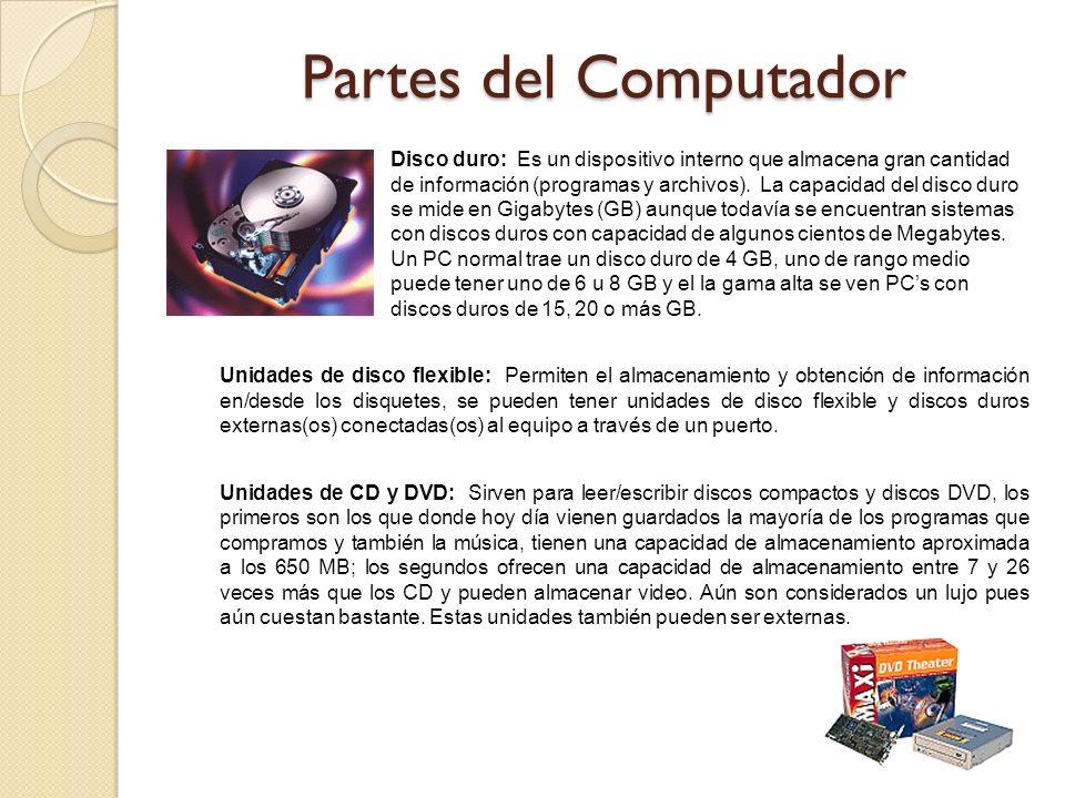 Disco duro: Es un dispositivo interno que almacena gran cantidad de información (programas y archivos). La capacidad del disco duro se mide en Gigabyt