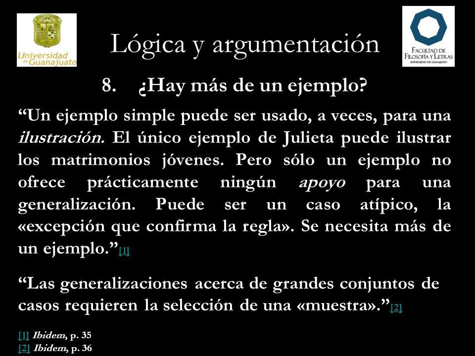 Lógica y argumentación 9.¿Son representativos los ejemplos.