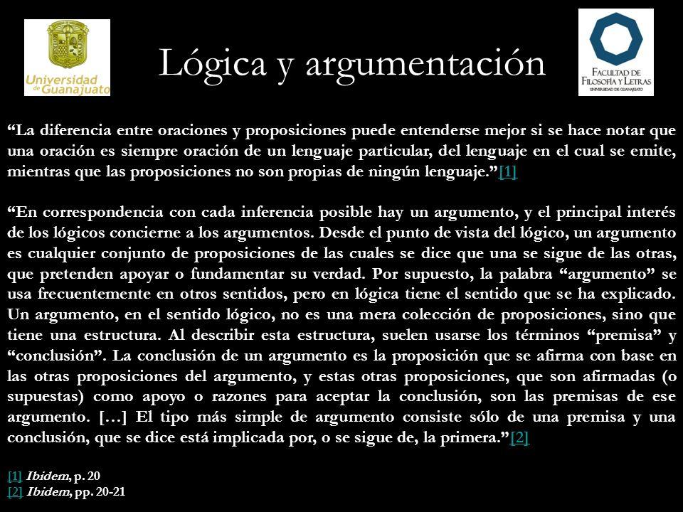Lógica y argumentación Ninguna proposición por sí misma, considerada en forma aislada, es una premisa ni una conclusión.