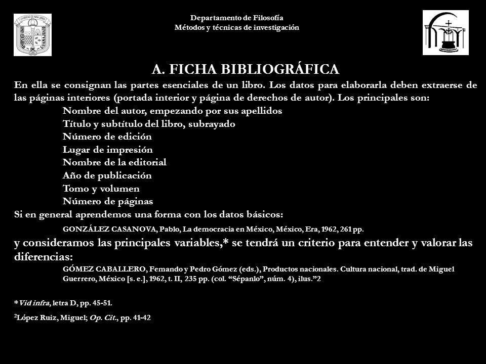 Departamento de Filosofía Métodos y técnicas de investigación A. FICHA BIBLIOGRÁFICA En ella se consignan las partes esenciales de un libro. Los datos