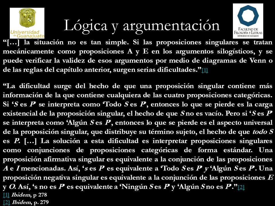 Lógica y argumentación Y al aplicar las reglas silogísticas para evaluar un argumento silogístico que contiene proposiciones singulares, debemos tener en cuenta toda la información contenida en esas proposiciones singulares, tanto la distribución como la carga existencial.