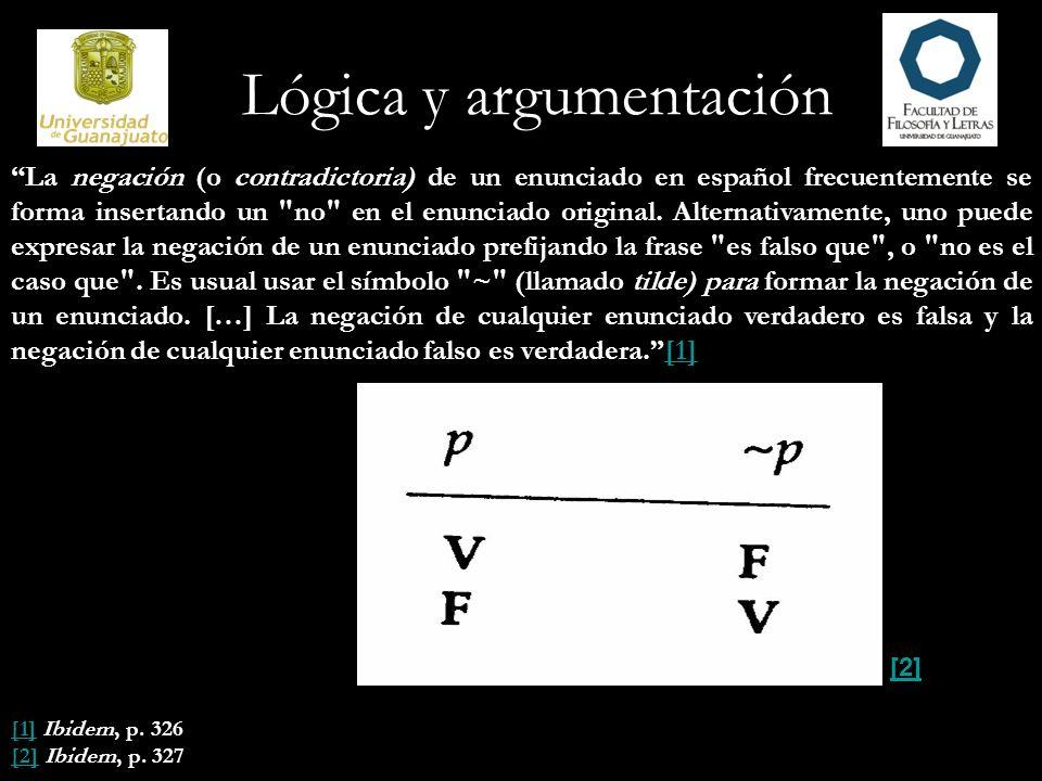 Lógica y argumentación La negación (o contradictoria) de un enunciado en español frecuentemente se forma insertando un