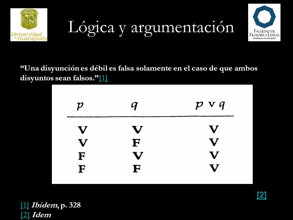 Lógica y argumentación Una disyunción es débil es falsa solamente en el caso de que ambos disyuntos sean falsos.[1][1] [2] [1][1] Ibidem, p. 328 [2][2