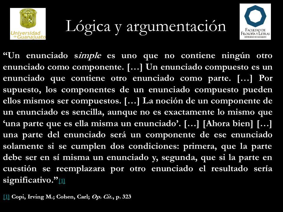Lógica y argumentación Un enunciado simple es uno que no contiene ningún otro enunciado como componente. […] Un enunciado compuesto es un enunciado qu