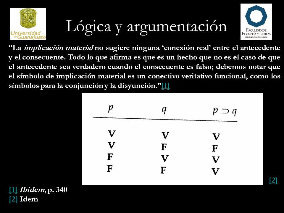 Lógica y argumentación La implicación material no sugiere ninguna conexión real entre el antecedente y el consecuente. Todo lo que afirma es que es un