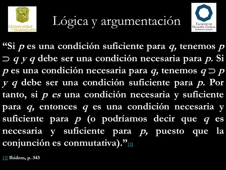 Lógica y argumentación Si p es una condición suficiente para q, tenemos p q y q debe ser una condición necesaria para p. Si p es una condición necesar