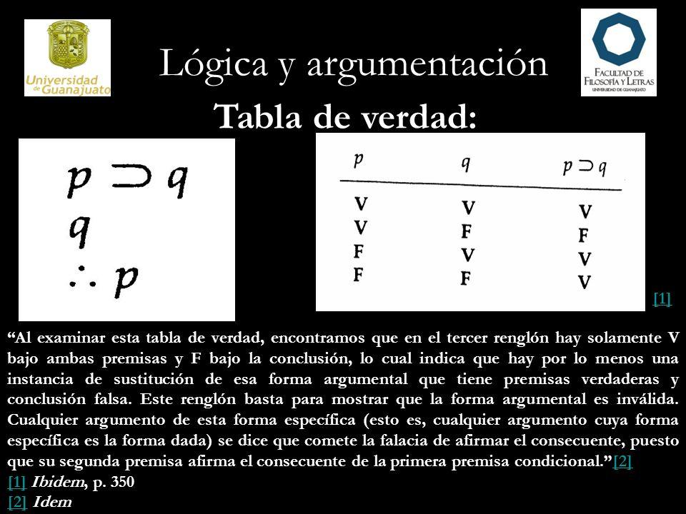 Lógica y argumentación Tabla de verdad: [1] Al examinar esta tabla de verdad, encontramos que en el tercer renglón hay solamente V bajo ambas premisas