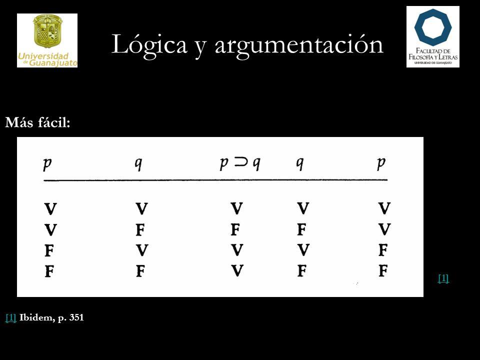 Lógica y argumentación Más fácil: [1] [1] Ibidem, p. 351