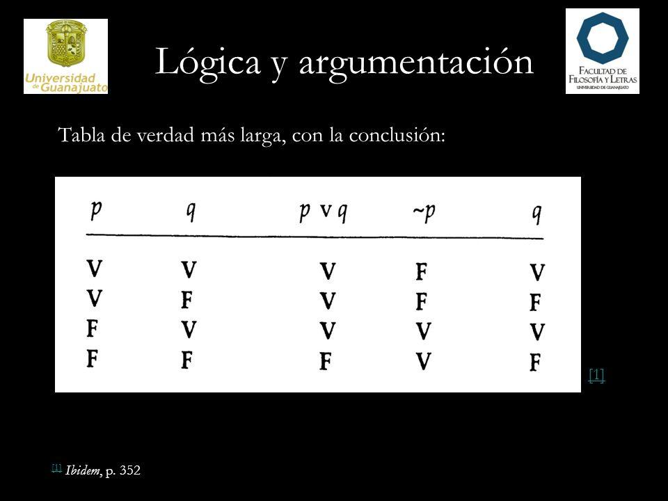 Lógica y argumentación Tabla de verdad más larga, con la conclusión: [1] [1] Ibidem, p. 352 [1]