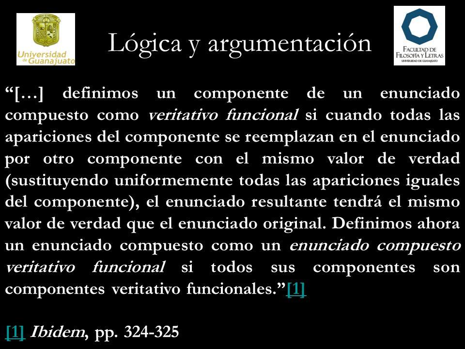 Lógica y argumentación […] definimos un componente de un enunciado compuesto como veritativo funcional si cuando todas las apariciones del componente