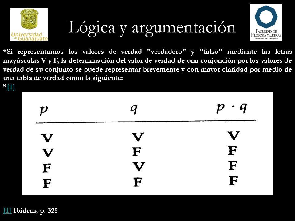 Lógica y argumentación Si representamos los valores de verdad