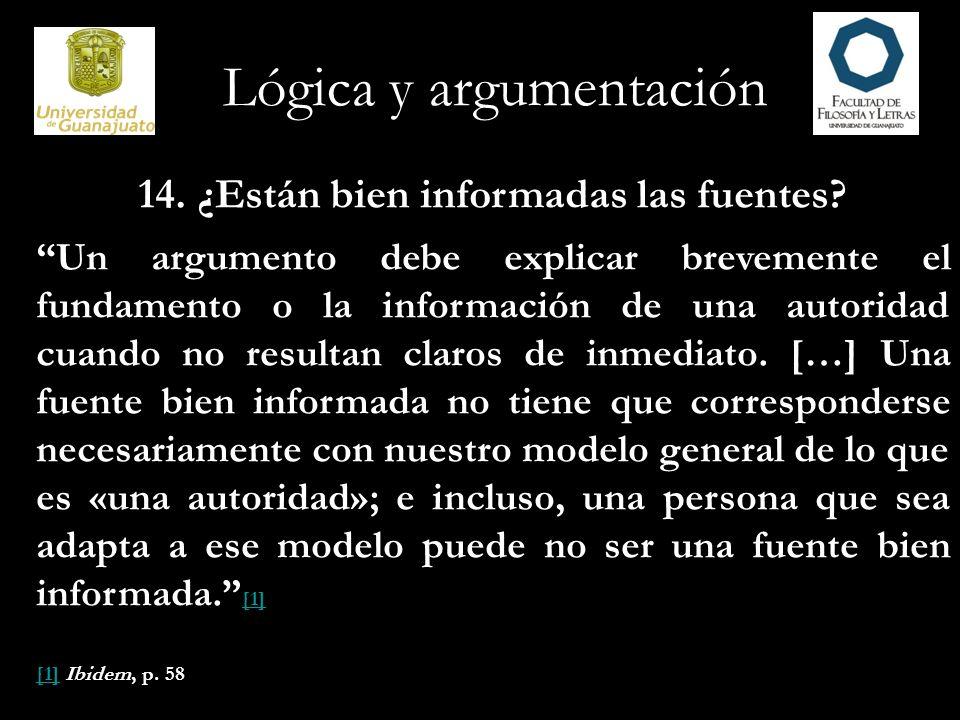Lógica y argumentación 15.¿Son imparciales las fuentes.
