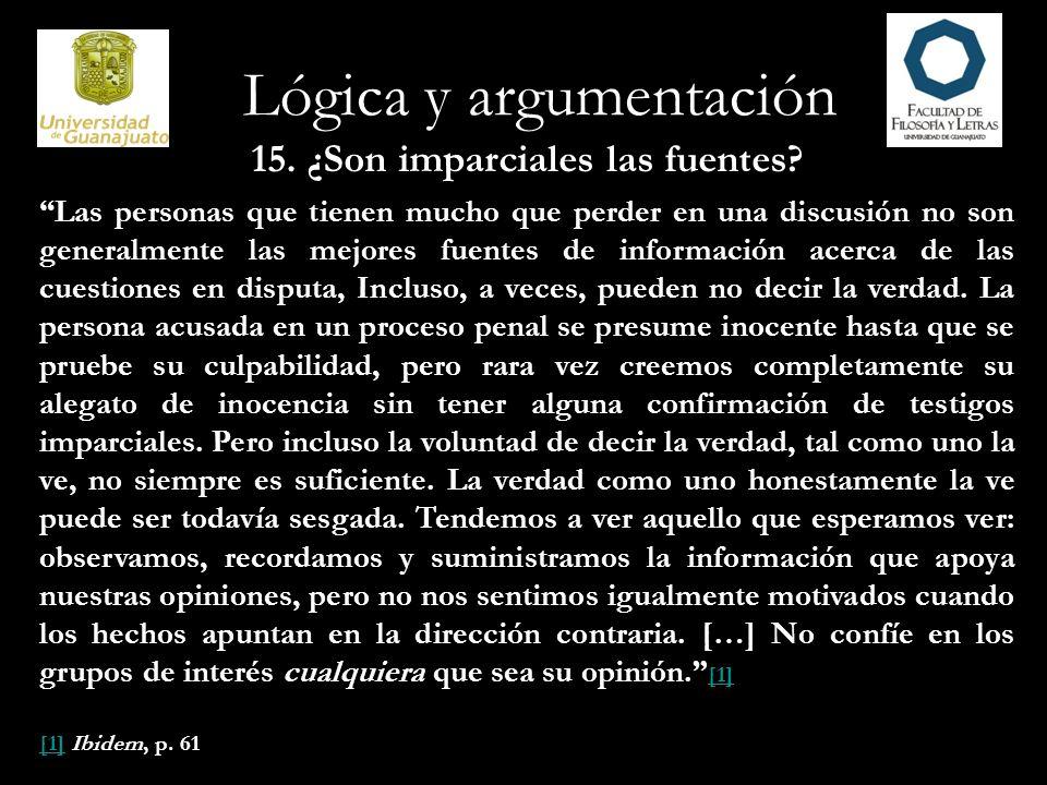 Lógica y argumentación 16.Compruebe las fuentes.
