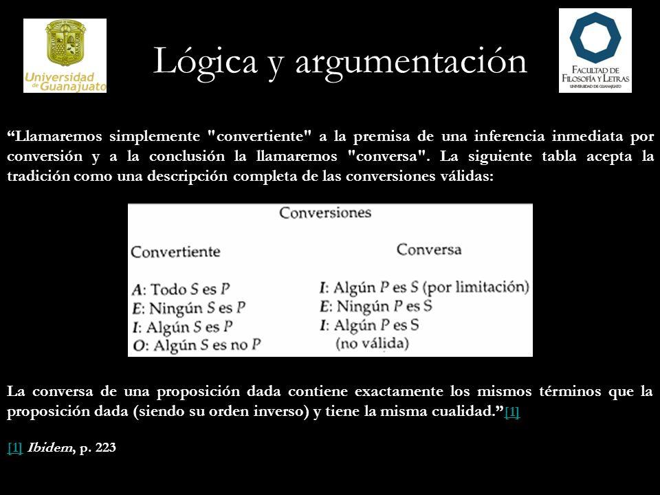 Lógica y argumentación Llamaremos simplemente