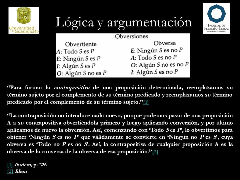 Lógica y argumentación Para formar la contrapositiva de una proposición determinada, reemplazamos su término sujeto por el complemento de su término