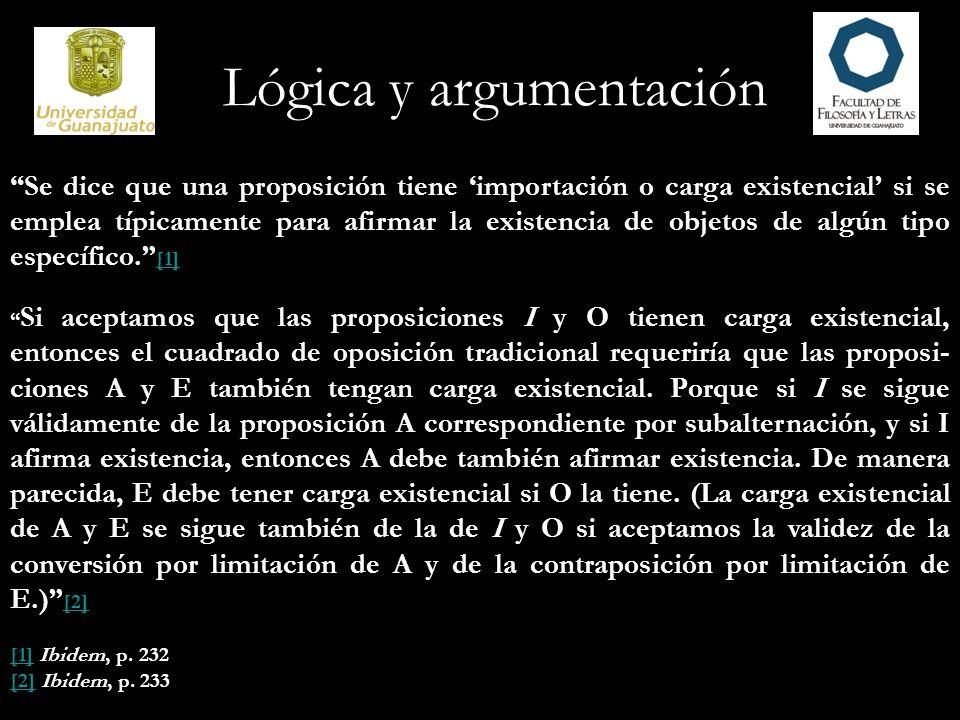Lógica y argumentación Se dice que una proposición tiene importación o carga existencial si se emplea típicamente para afirmar la existencia de objeto