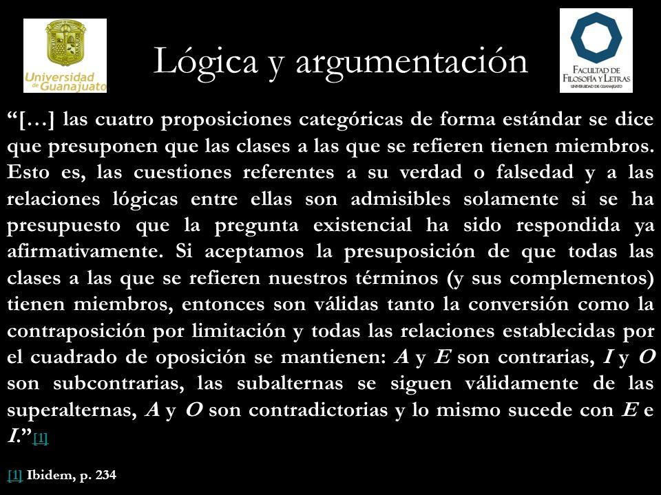 Lógica y argumentación […] las cuatro proposiciones categóricas de forma estándar se dice que presuponen que las clases a las que se refieren tienen m