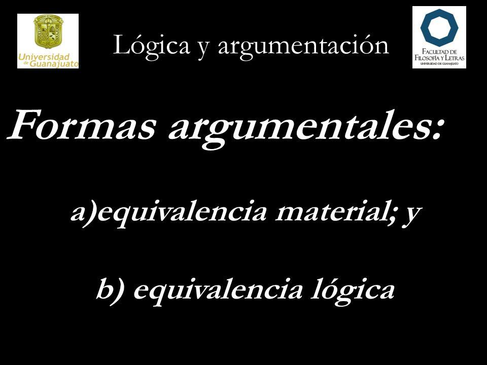 Lógica y argumentación Formas argumentales: a)equivalencia material; y b) equivalencia lógica