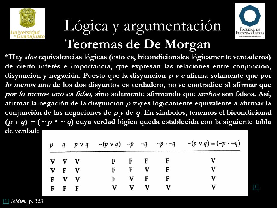 Lógica y argumentación Teoremas de De Morgan Hay dos equivalencias lógicas (esto es, bicondicionales lógicamente verdaderos) de cierto interés e impor