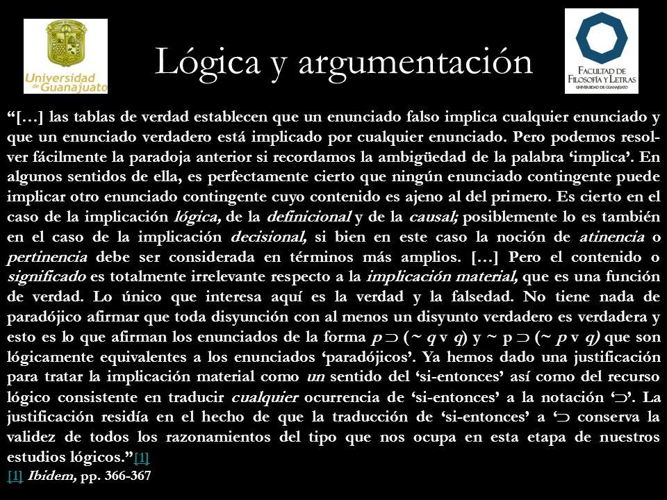 Lógica y argumentación […] las tablas de verdad establecen que un enunciado falso implica cualquier enunciado y que un enunciado verdadero está implic