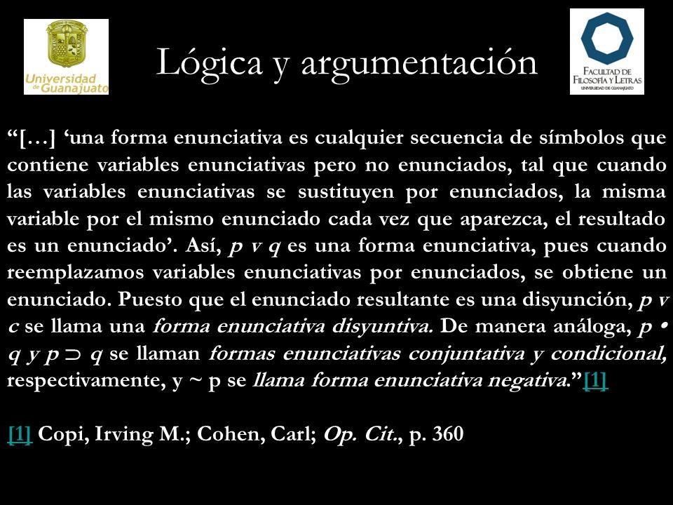 Lógica y argumentación […] una forma enunciativa es cualquier secuencia de símbolos que contiene variables enunciativas pero no enunciados, tal que cu