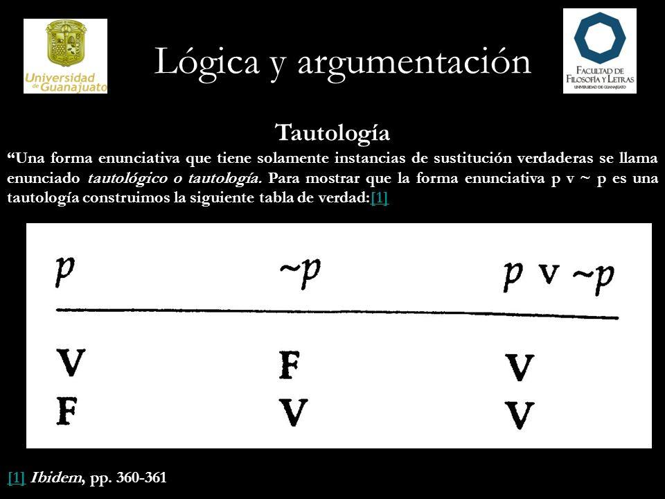 Lógica y argumentación Tautología Una forma enunciativa que tiene solamente instancias de sustitución falsa se dice que es contradictoria o que es una contradicción y es lógicamente falsa.
