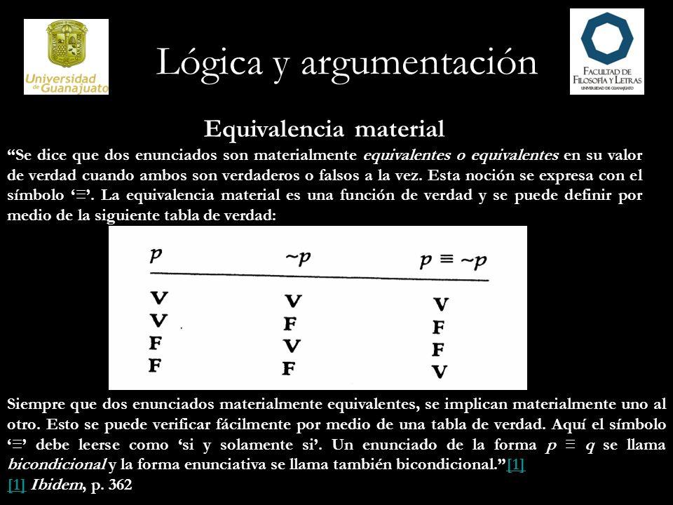 Lógica y argumentación Equivalencia lógica […] dos enunciados son lógicamente equivalentes cuando el enunciado de su equivalencia material es una tautología.