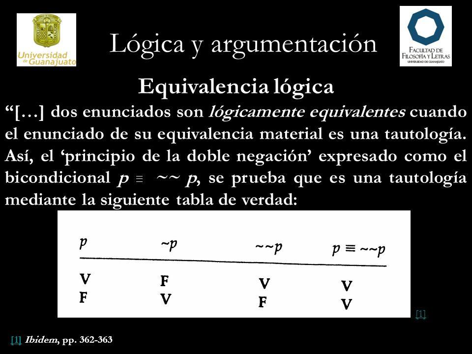 Lógica y argumentación Equivalencia lógica […] dos enunciados son lógicamente equivalentes cuando el enunciado de su equivalencia material es una taut