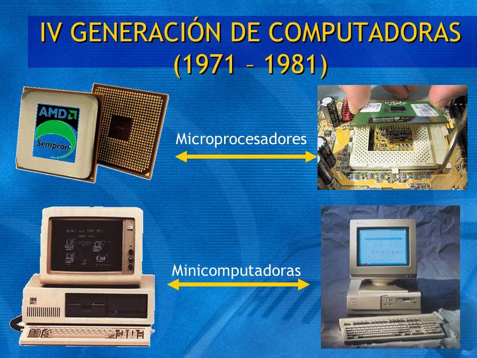 IV GENERACIÓN DE COMPUTADORAS (1971 – 1981) Microprocesadores Minicomputadoras