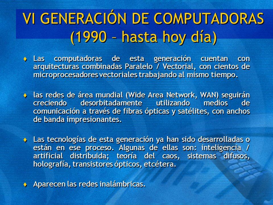 VI GENERACIÓN DE COMPUTADORAS (1990 – hasta hoy día) t Las computadoras de esta generación cuentan con arquitecturas combinadas Paralelo / Vectorial,